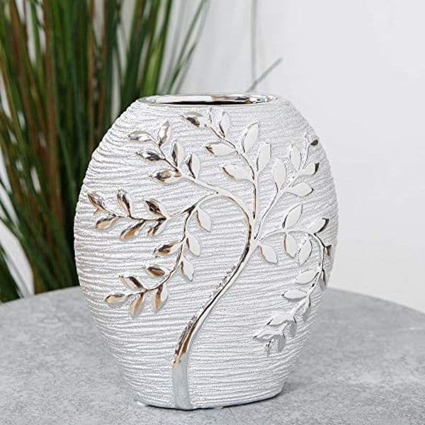 HESTIA Silver Electroplated Tree Design Ceramic Oval Vase - 20cm